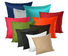 Fodera per cuscino seta lucido uni federa cuscino decorativo decorazione cuscino in 40 x 40 50 x 50 o 60 x 60 cm colore a scelta # 1322, Poliestere, arancione, 50 x 50