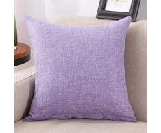 federe cuscini,Fittingran Liquidazione federa di lino tinta unita piazza semplice moda tiro federe cuscini divano del divano cuscino home decor (Viola)