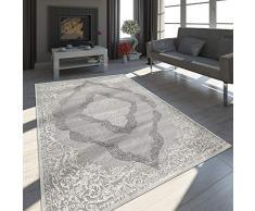 Paco Home Oriente Tappeto Moderno Effetto 3D mélange Brillante Ornamenti in Grigio Bianco, Dimensione:80x300 cm