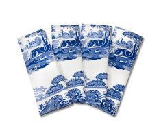 Blue Italian 45 x 45 cm, tovaglioli in Cotone, 4 Pezzi, Colore: Blu/Bianco