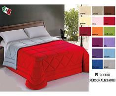 Trapunta invenale Piumone letto 1 Piazza e Mezza cm 230x270 Bicolore Personalizzabile su misura 15 colori a scelta, pregiato cotone a trama fitta