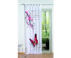 Home fashion 48516-831 - Tenda con Passanti Butterfly con Stampa Digitale, Tessuto Decorativo Effetto Seta, 245 x 120 cm, Colore Fucsia