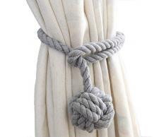 WINSHEA Un Paio di Corde Fermatenda Fatti a Mano in Cotone Ferma Tenda Corde Tenda Curtain Tiebacks (Grigio)