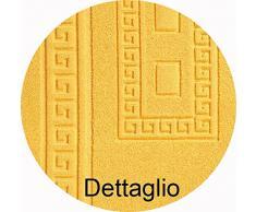 CASA TESSILE Torino Set 3 tappeti Bagno in Spugna, 1 cm 60X90 + 2 Girowater cm 60x45 - Giallo
