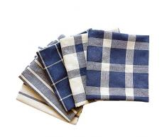 TOPSEAS Strofinaccio Cucina,5 Strofinacci 100% Cotone,50x70 cm,Plaid Blu Strofinacci,Possono Essere usati Come Asciugamani da tè/Asciugamani da stoviglie/Asciugamani da Cucina