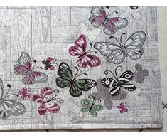By Suardi - Tappeto arredo Passatoia Cucina Farfalle in ciniglia Made in Italy - Cm 55x190 - Rosa-verde