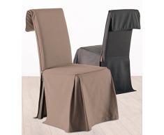 Fodera coprisedia, rivestimento per sedia - Altezza regolabile - 100% cotone - Color TALPA