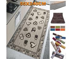 TrAdE Shop Traesio - Tappeto Antiscivolo Fondo Gomma 55x240 CM per Cucina Bagno Lavabile Lavatrice