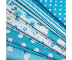 N A 7 pz Tessuti Stoffe Patchwork Tessuto Stampato Cotone Tessuti e Stoffe a Metro Cotone Scampoli Stoffa Fatansia per Cucito Materiale per Hobby Creativo (Blu Chiaro)