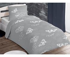 Set copripiumino in cotone per letto singolo VOYAGE grigio