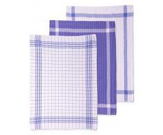 Set di asciugapiatti a strisce è composto di 3 pezzi, la misura 50 x 70 cm, colore: bianco e blu