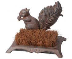 Esschert design zerbino, zerbino motivo scoiattolo in ghisa con pennello, 25 cm x 16 cm x 18 cm