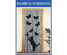Wenko - Tenda richiudibile in legno di bambù, 90 x 200 cm Katze und Schmetterling