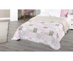 Copriletto XXL multiuso, coperta di circa 220 x 240 stile patchwork, rurale, copriletto per divano, letto, colori beige, lilla, terra, cioccolato, Microfibra, Blume Rot, ca. 220x240 cm