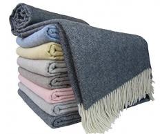 """Coperta in cashmere, 100% lana, 140 x 200 cm, coperta a quadri, molto morbida, plaid """"Faro"""" , Lana, grigio scuro, 140 x 200 cm"""
