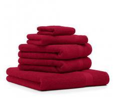 Betz Set di 5 asciugamani di spugna Premium 100 % cotone 1 asciugamano da doccia 2 asciugamani 1 asciugamano per ospiti 1 guanto da bagno Color rosso scuro