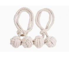 Un Paio di Corde Fermatenda Fatti a Mano in Cotone Ferma Tenda Corde Tenda Curtain Tiebacks (Beige)