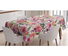 ABAKUHAUS Shabby Flora Tovaglia, Shabby pianta di Rosa Floreale, Rettangolare per Sala da Pranzo e Cucina, 140 x 200 cm, Multicolore
