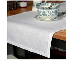 Linen & Cotton Runner Da Tavolo FLORENCE, 100% Lino - Bianco (43 x 130cm)