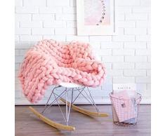 Lavorata Lana Grossa Coperta, Coperte Ingombranti Maglia con Cavo in Cotone Filato Morbido Fatto Mano Pink 60x60CM