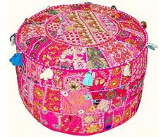 indiano vintage patchwork ottomano pouf, Indian Living Room pouf, poggiapiedi, cuscino rotondo pouf ottomano, ottomano Poof, tradizionale indiano Home Decor cuscino in cotone ottomano 33 x 45,7 cm by Traditional India