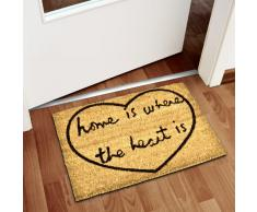 Relaxdays Home Where The Heart Is Zerbino da Ingresso, PVC, Marrone, 40 x 60 cm