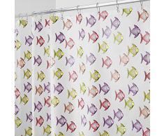 InterDesign Fishy Tenda Doccia, Vinile, Rosa, 183x0.2x183 cm