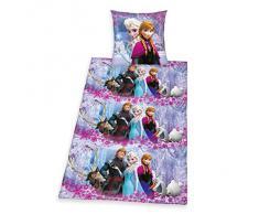 Herding 448040050412 - Set di biancheria da letto con motivo dal film Disney Frozen, il regno di ghiaccio, composto da federa di 80 x 80 cm e copripiumino singolo di 135 x 200 cm, 100% cotone rinforzato