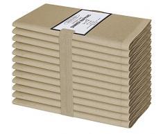 Clinica di Cotone 12 Pezzi Tovaglioli Stoffa 50x50 cm Cotone 100%, Morbidi e Confortevoli, qualità alberghiera duratura, Tovaglioli Cotone per Eventi e Uso Domestico Regolare, Beige