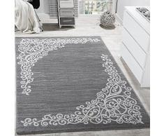 Tappeto Di Design Con Motivo Floreale Filato Lucido Grigio Bianco Antracite Mélange, Dimensione:80x150 cm