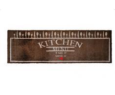 Lifestyle-Mat 100598 passatoia Menù con amore antiscivolo e lavabile, ideale per il guardaroba, la cucina o la camera da letto 50 x 150 cm, marrone / beige