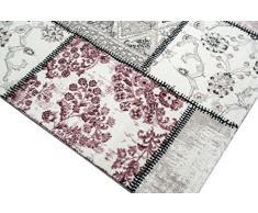Edler stilista tappeto Tappeto moderno tappeto Patchwork Vintage Heather Karo Pattern in viola Crema Grigio Rosa Nero Größe 80x150 cm