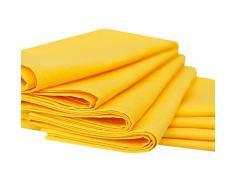 Linenme - Tovaglioli in cotone e lino Paula, 49 x 49 cm, 8 pz, colore giallo