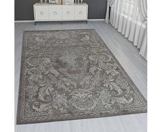 Paco Home Tappeto Orientale Moderno Effetto 3D Bordatura Ornamenti Grigio Marrone Crema Brillante, Dimensione:80x150 cm