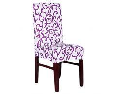 WINOMO Copertura della sedia removibile fodera coprisedia con schienale lavabile poliestere dello Spandex (stampa bianco viola)
