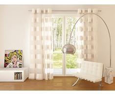 Splendid Collezione FLORENCE - Tenda con occhielli, 140 x 245 cm, color bianco seta