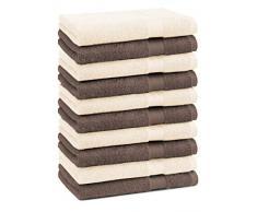 Betz Set di 10 asciugamani per ospiti Premium misura 30 x 50 cm colore marrone noce e beige