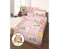 Biancheria da letto per bambini, in flanella, mod. Ido con gufi, in rosa, 135 x 200 + 80 x 80 cm