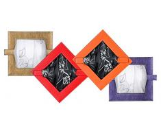 Fermatenda Fermaglio effetto pelle decorativo quadrato colore a scelta, Plastica, lilla, 18x18 cm