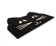 Zerbino Entryways in Fibra di Cocco con Rivestimento Antiscivolo in PVC, a Forma di Testa di Gatto, Colore Bianco/Nero