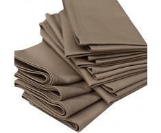 Linenme - Tovaglioli in cotone Plain, 45 x 45 cm, 12 pz, colore marrone