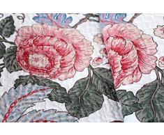 1001 Abitazione da sogno 15S02-1 - Coperta Quilt Lucy, motivo floreale, stile shabby chic, trapunta, Rose, 180 x 220 cm
