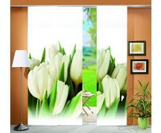 Home fashion Tulpa 88819-111 - Tenda a Pannello con Stampa Digitale, 3 Pezzi, Motivo Decorativo a Foglia, 245 x 60 cm, Colore Naturale