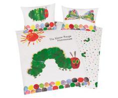 "Herding 246001063 Lenzuola (federa + copripiumino) per bambini ""Kleine Raupe Nimmerstatt"", in cotone, 40x60 + 100x135 cm"