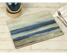 Creative Tops Set da 4 tovagliette allamericana in legno di sughero, blu, tema astratto:vista oceano