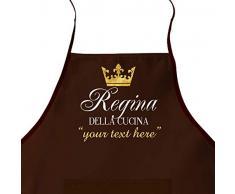 LaMAGLIERIA Grembiule da Cucina Personalizzato con Nome 'Regina della Cucina' cod.apr12 - Grembiule da cuoca, Marrone