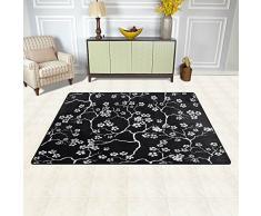 Naanle giapponese fiori di ciliegio tappeto antiscivolo per per camera da letto, soggiorno, cucina 50 x 80 cm (1.7 'x 2.6' ft), nero e bianco Flower Sakura nursery tappeto pavimento tappetino yoga, Multi, 50 x 80 cm(1.7' x 2.6')