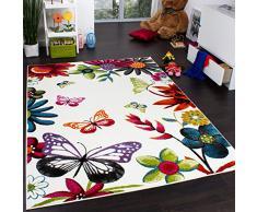 Tappeto Per Bambini Colorato E Allegro Con Farfalle E Fiori Crema Multicolore, Dimensione:160x220 cm