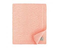 Linen & Cotton Plaid/Coperta/Copertina a Maglia Neonato Bambino Invernale Estiva Lilou -100% Pura Lana Nuova Zelanda, Rosa Pink, Grande (120 x 150cm), per Carrozzina, Culla, Lettino, Passeggino