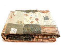 1001 Wohntraum 13D19 Jenny - Trapunta patchwork con motivo floreale, stile vintage, 230 x 250 cm